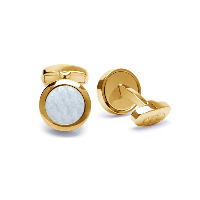 Atlantic Salmon Leather Cufflinks Gold-Tone ▪ White