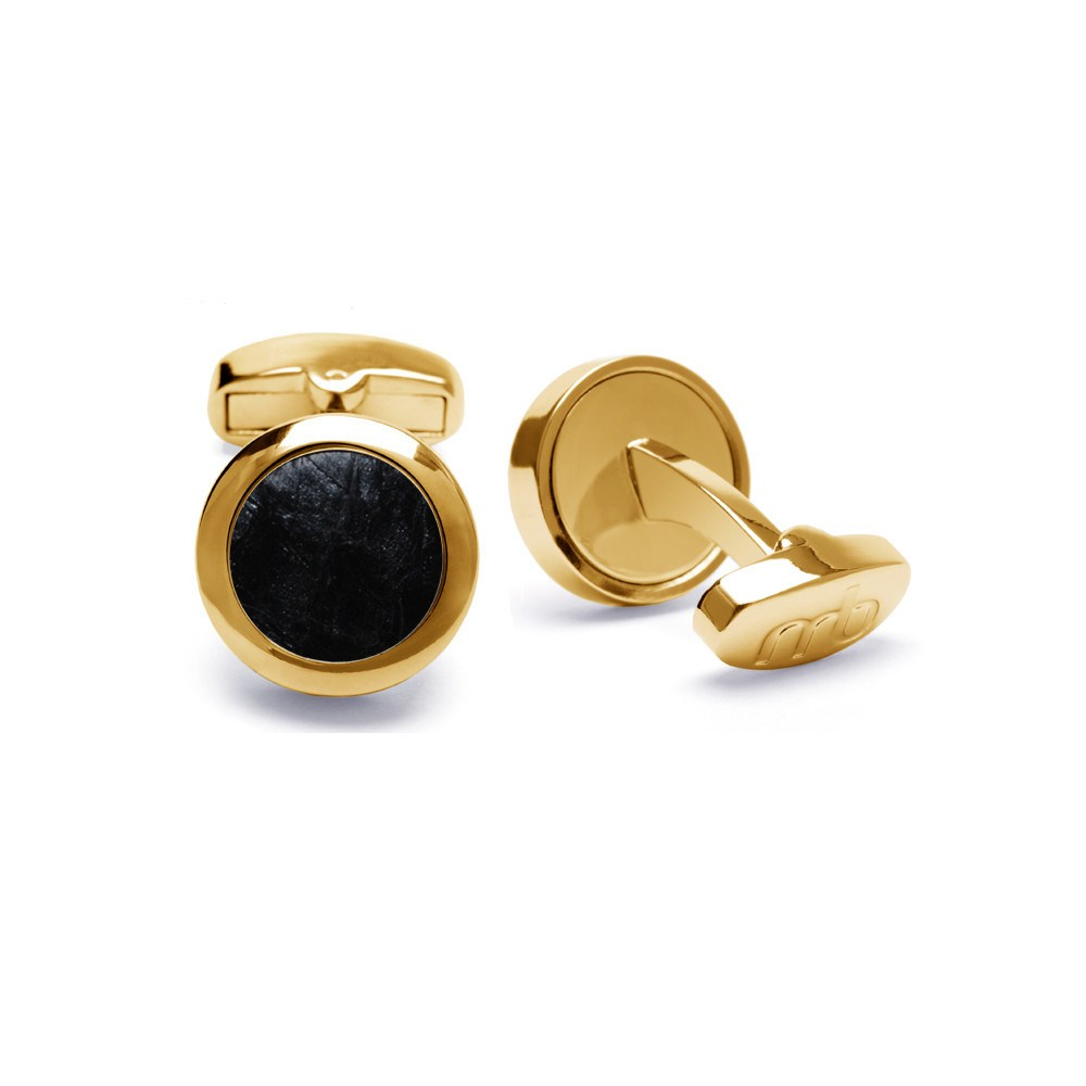 Atlantic Salmon Leather Cufflinks Gold-Tone ▪ Black