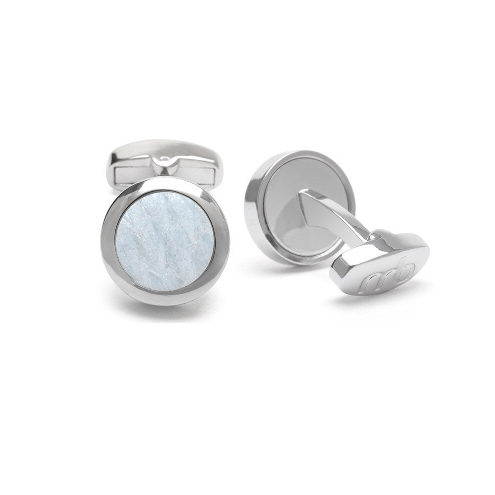 Atlantic Salmon Leather Cufflinks Silver-Tone ▪ White