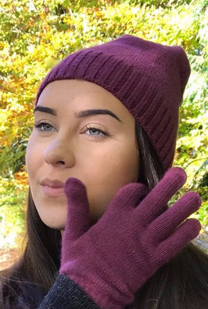 Pink angora beanie and gloves
