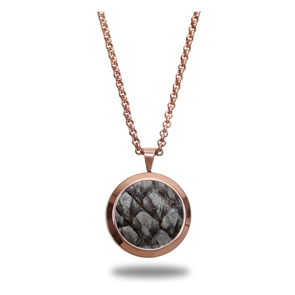 Atlantic Salmon Leather Pendant Rose Gold-Tone ▪ Grey