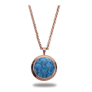 Atlantic Salmon Leather Pendant Rose Gold-Tone ▪ Light Blue