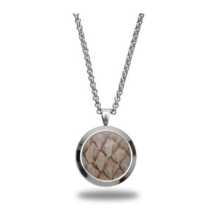 Atlantic Salmon Leather Pendant Silver-Tone ▪ Beige