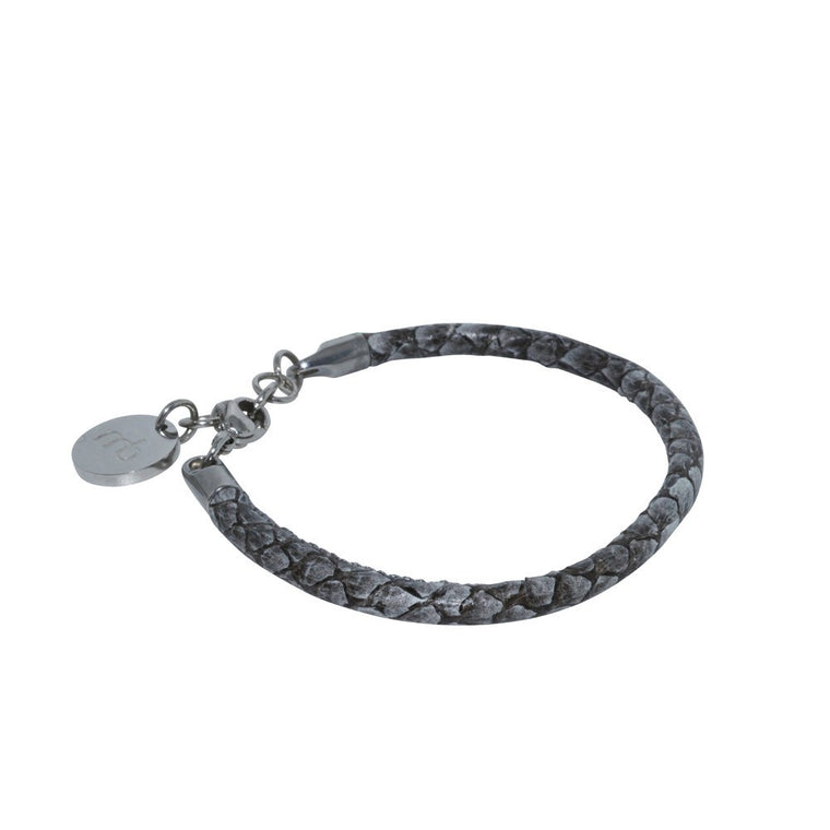 Atlantic Salmon Leather Single Cord Bracelet▪ Grey
