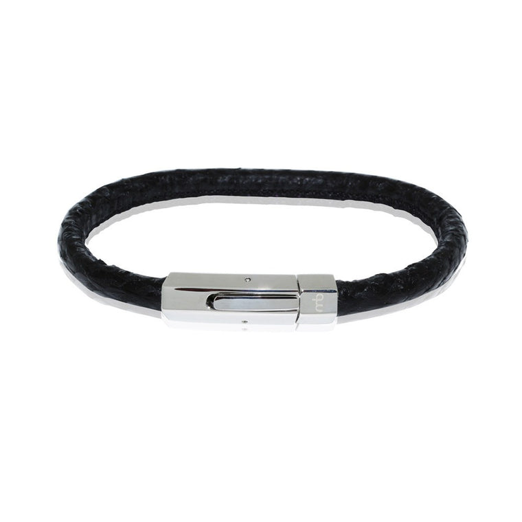 Atlantic Salmon Leather Cord mens Bracelet ▪ Black