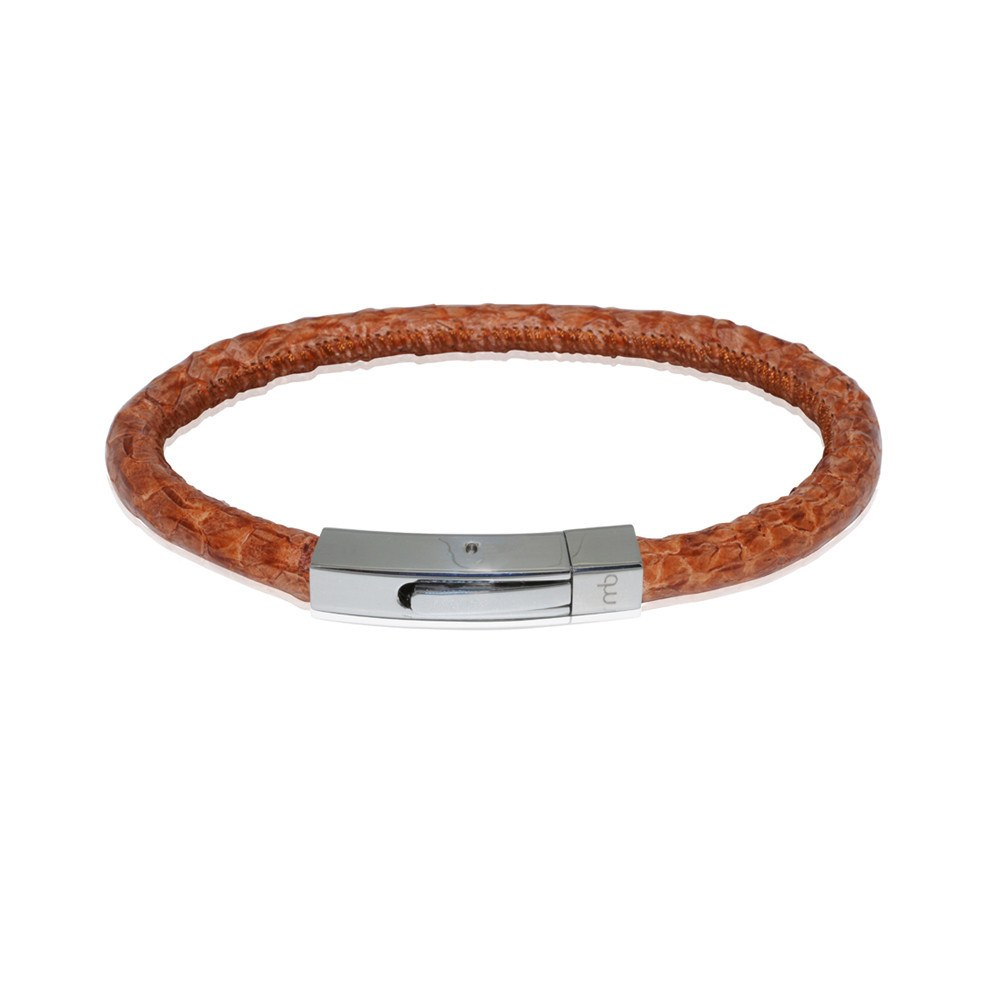 Atlantic Salmon Leather Cord Men´s Bracelet ▪ Cognac - marlín birna unique jewellery