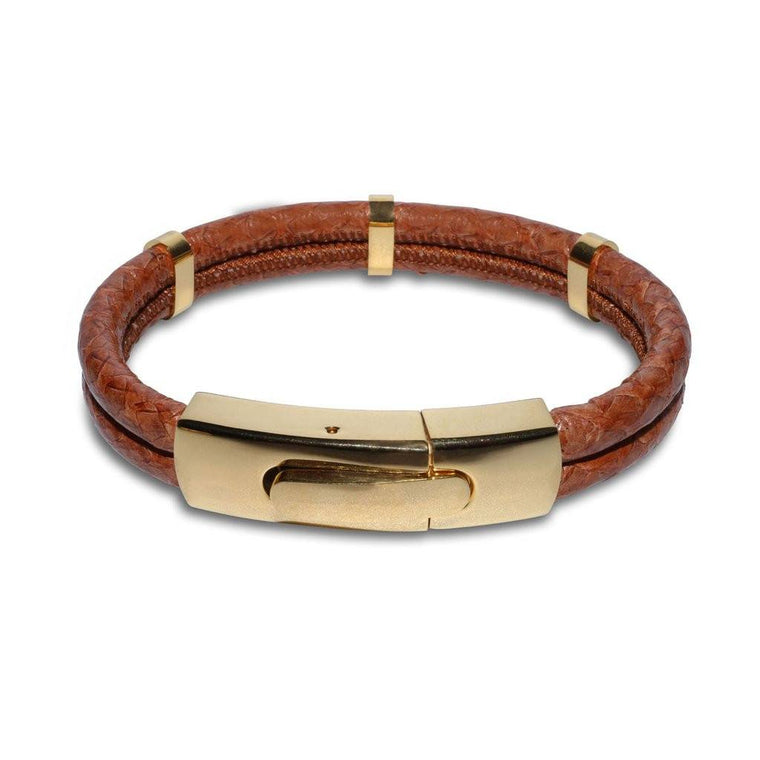 Atlantic Salmon Leather Double Cord Bracelet Gold-Tone ▪ Cognac