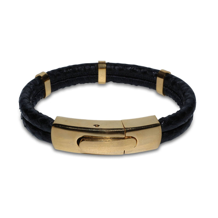 Atlantic Salmon Leather Double Cord Bracelet Gold-Tone ▪ Black