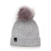 VARMA Grey Children´s Beanie made of Pure new wool with grey faux fur pom pom