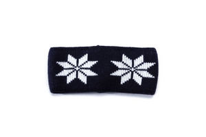 Black headband with white nordic pattern