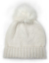 White new wool children´s beanie with white faux fur pom pom