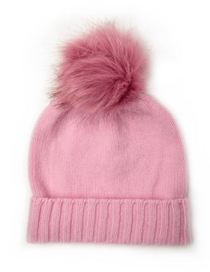 Pink childrens beanie made of soft new wool VARMA toddlers wool hat