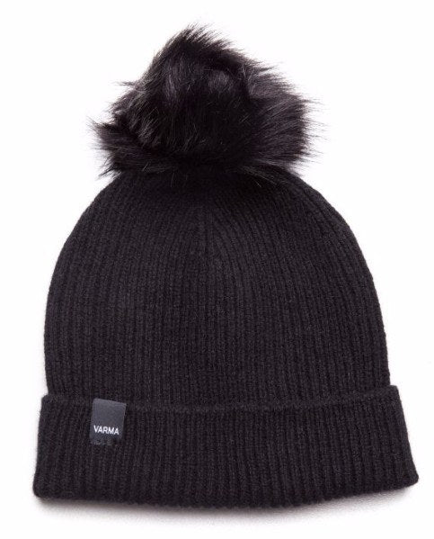Black Wool pom pom hat from soft new wool with a black faux fur pom pom