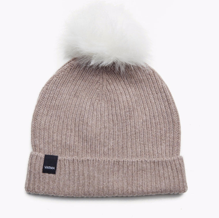 Sand wool hat with white pom pom