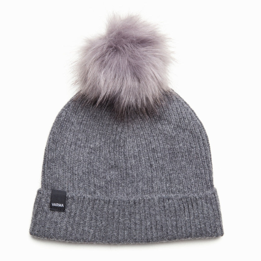 c45e3a376 Wool Hat For Women | Dark Grey Pure New Wool With Light Grey Faux Fur Pom