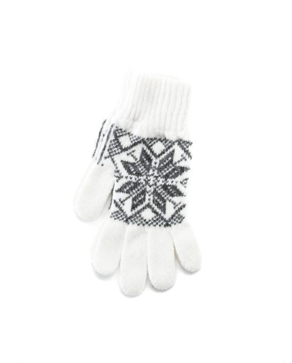 White soft wool gloves with grey nordic pattern