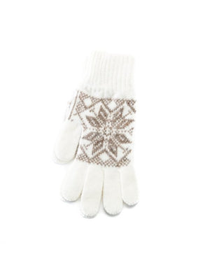 White soft wool gloves with beige nordic pattern