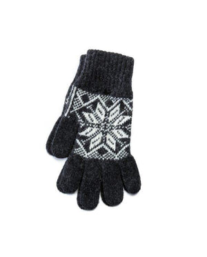 Dark grey soft wool gloves with white nordic pattern