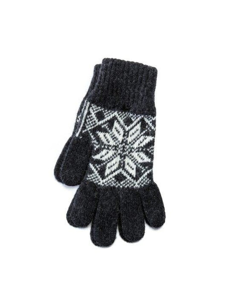 Dark grey mens wool gloves with nordic pattern made in Iceland Strawberry Hill House