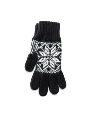 Black soft wool gloves with white nordic pattern