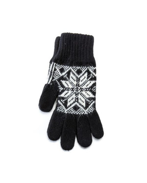 Black mens wool gloves with nordic pattern made in Iceland Strawberry Hill House