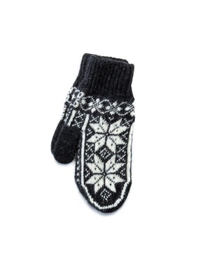 Dark grey soft wool lady mittens with white nordic pattern