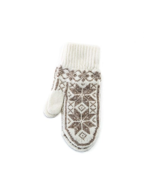 White soft wool lady mittens with light brown nordic patter