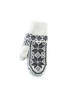 White soft wool mittens with grey nordic patter