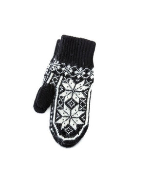 Black soft wool mittens with white nordic pattern