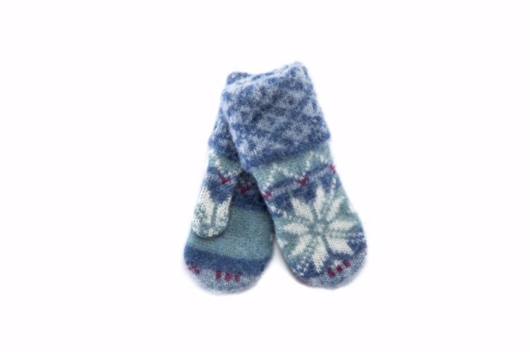 Blue and green brushed wool ladies mittens with white and pink nordic patter