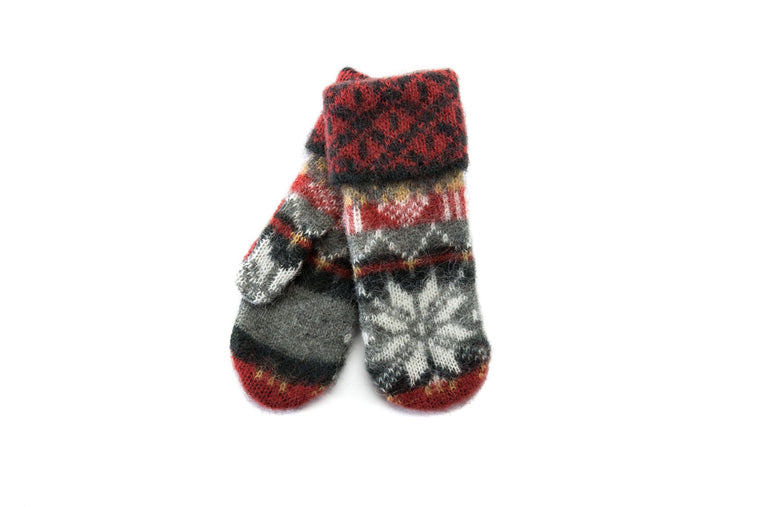 Green and red brushed wool ladies mittens with white and yellow nordic pattern