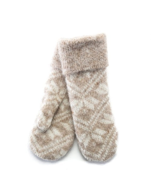 Beige brushed wool mittens. Leaf pattern