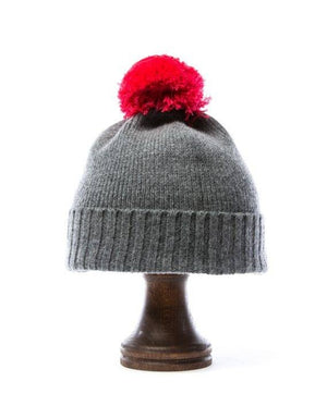 Grey soft wool kids hat with pink pom