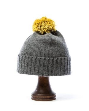 Grey soft wool kids hat with yellow pom