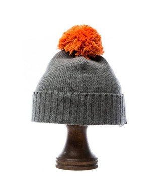 Grey soft wool kids hat with orange pom