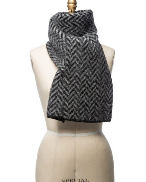 Black and Grey brushed mens wool scarf. Icelandic wool
