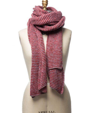 Red and grey striped large wool scarf