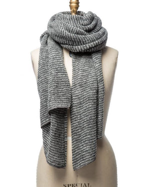 Black and white striped large wool scarf