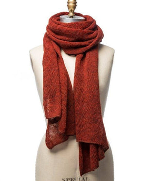 Rusty red large wool scarf. Made in Iceland