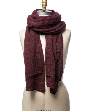 Burgundy large wool scarf. Made in Iceland