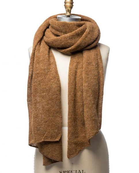 Light brown large wool scarf. Made in Iceland