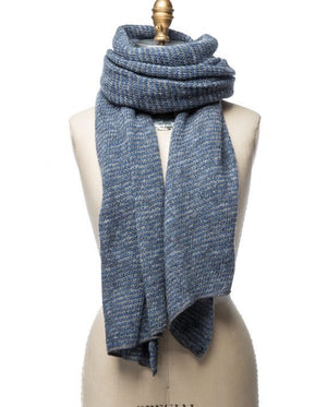 Light blue and grey striped large wool scarf