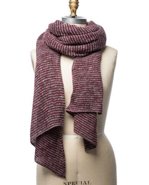 Burgundy and grey striped large wool scarf