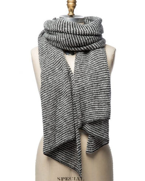 Grey and white striped large wool scarf