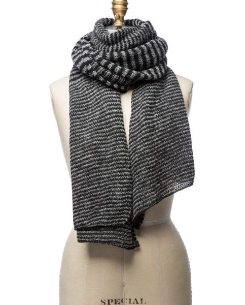 Black and dark grey mixed stripes large wool scarf made in Iceland