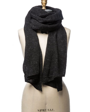 Black and dark grey striped large wool scarf