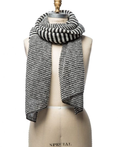 Grey and white mixed stripes large wool scarf made in Iceland