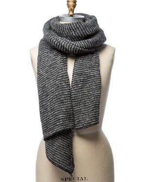Dark grey and light grey striped large wool scarf