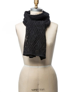 Black soft wool crocheted lady scarf
