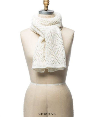 White soft wool crocheted lady scarf